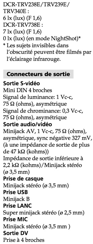 sony trv 238e