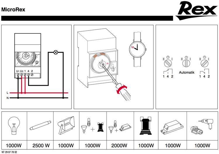branchement horloge microrex